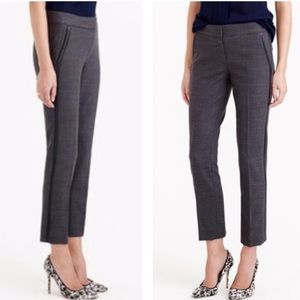 J crew Campbell ankle pants with faux leather trim
